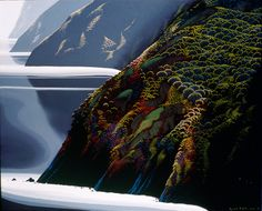 CALM COASTLINE by Eyvind Earle  Ok I may have to check out more of this artist!!