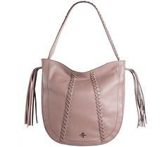 With all the trimmings. Delightful details take this orYANY hobo from ho-hum to your new favorite find. Qvc, Pebbled Leather, Rebecca Minkoff, Chelsea, Braids, Purses, Fashion, Bang Braids, Handbags