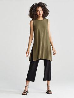 Round Neck Sleeveless Tunic in Viscose 50 Fashion, Green Fashion, Womens Fashion, Fashion Design, Fashion Brands, Sleeveless Tunic, Casual Elegance, Fashion Stylist, Eileen Fisher