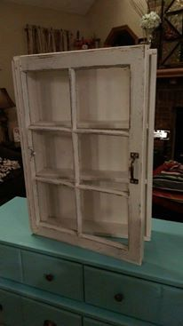 Beautiful distressed window cabinet cream window cabinet window shadow box shadow box cabinet medicine cabinet rustic cabinet is part of home Furniture Window window sizes used for these cabine - Room Shelves, Display Shelves, Glass Shelves, Shelving, Repurposed Furniture, Diy Furniture, Furniture Cleaning, Furniture Movers, Rustic Furniture