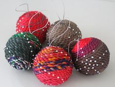 Handmade Thai silk Christmas ball decoration set in different colours