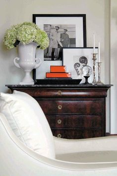Love the hydrangeas in the urn. South Shore Decorating Blog: 50 Favorites for Friday #172 - Vignettes and Table Styling