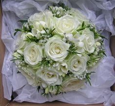 Wedding Flowers Blog: August 2011 white roses, baby's breath, freesia, rosemary