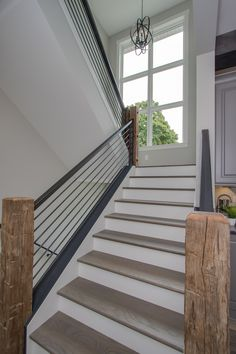 Looking for Staircase Design Inspiration? Check out our photo gallery of Modern Stair Railing Ideas. Indoor Stair Railing, Interior Stair Railing, Modern Stair Railing, Stair Railing Design, Metal Stairs, Outdoor Stairs, Staircase Railings, Modern Stairs, Stairways