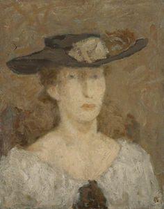 leszek muszynski(1923- ), portrait of a woman in a brimmed hat. oil on canvas, 46 x 36 cm. edinburgh college of art (university of edinburgh), uk http://www.bbc.co.uk/arts/yourpaintings/paintings/portrait-of-a-woman-in-a-brimmed-hat-225640