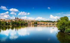 Télécharger fonds d'écran Prague, de la rivière Vltava, le panorama de Prague, en été, en République tchèque, le vieux pont de pierre