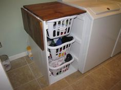How to organize a laundry room with a laundry folding table shorter brook laundry basket dresser with folding table do it yourself home projects from ana solutioingenieria Images