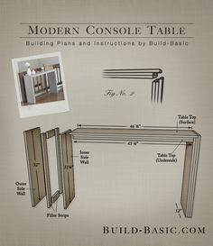 Build a Modern Console Table - Building Plans by @BuildBasic www.build-basic.com