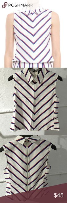 Striped fitted sleeveless top Striped (red, white, blue) fitted sleeveless top with pointed flat collar and middle back zipper closure Style Mafia Tops Blouses