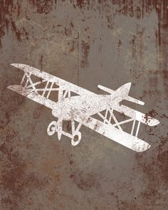 Vintage Aviation Airplane - Distressed Print - Children Nursery Playroom Artwork.