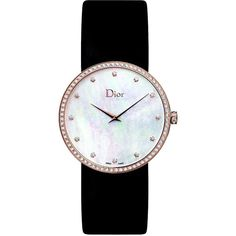 La D de Dior Diamond, Rose Goldtone Stainless Steel & Satin Strap Watch featuring polyvore, women's fashion, jewelry, watches, apparel & accessories, swiss quartz watches, christian dior jewelry, white wrist watch, diamond jewellery and white watches