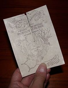 Harry Potter - Original Artwork Marauders Map Hand-folded on Parchment. Folded Marauders' Map - instructions on website