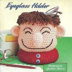 Happy Head Eyeglass Holder crochet PATTERN INSTRUCTIONS