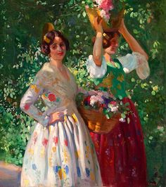 Valencianas en la huerta, by Victor Moya Calvo (Spanish, 1890-1972)