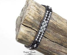 Black Leather Wrap Bracelet - Black, Silver And Gray Beaded Leather Bracelet - Boho Style Leather Cuff For Women(SW132) by CinfulBeadCreations on Etsy