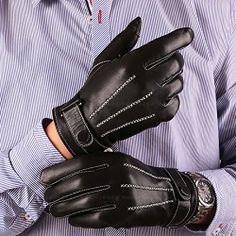WINTER GENTS DRIVING GLOVES TOP QUALITY SOFT GENUINE REAL BLACK  LEATHER
