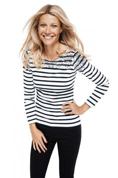 Gwyneth Paltrow in Black and White Striped top as she stars in the latest Lindex campaign.