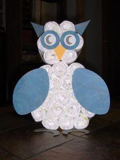 Owl Baby Shower Diaper Cake - Cute!