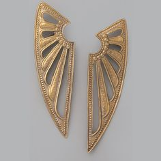 I can't figure out how you're supposed to wear these but I like them all the same.  Alkemie Jewelry  Deco Wing Earrings, $176
