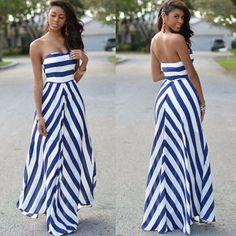 Blue and White Stripe Chiffon Strapless Maxi Dress