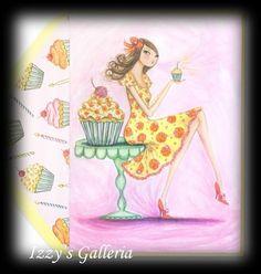 Papyrus Bella Pilar Cupcake Girl Birthday Card Lined Matching Envelope | eBay