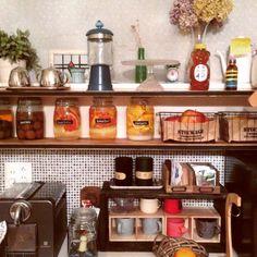 キッチン収納/セリア/娘作の虹色瓶/DIY/BKLYNJAR/壁紙屋本舗…などのインテリア実例 - 2015-03-08 11:17:25   RoomClip(ルームクリップ)