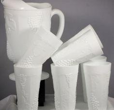 Grape Leaf Pattern White Milk Glass Pitcher And 8 Glasses