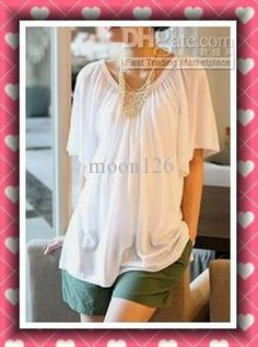 Wholesale and retail fashion maternity wear clothes summer cotton T-shirt tops Pregnant women white 0081, Free shipping, $12.64-19.59/Piece | DHgate