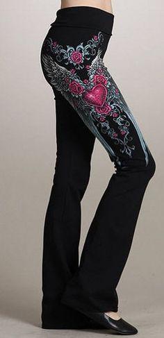 Amazon.com: Fashion Forever Black Heart Rose Stones Angel Wings Tattoo Yoga Pants Junior Black (S): Clothing