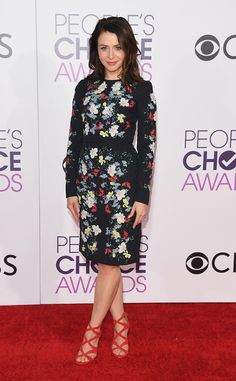 Caterina Scorsone from People's Choice Awards 2017 Red Carpet Arrivals  Grey's Anatomy's Dr. Amelia Shepherd is ready for spring in her floral red carpet look.