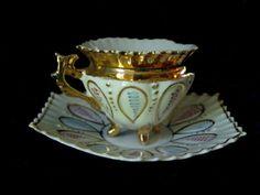 Vintage Porcelain China Collector Demitasse Tea-Cup Saucer white pink blue