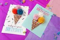 Ice cream Birthday card + FREE printable | Mama is dreaming...
