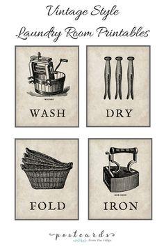 Vintage Style Laundry Room Art