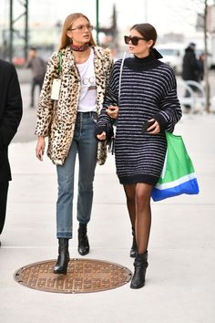 Taylor Hill and Romee Strijd leaving the Tory Burch F/W17 show in New York City.