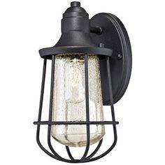 Westinghouse 6202900 Elias 1 Light Industrial Outdoor Wall Lantern, Textured Black