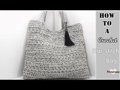 (코바늘 가방뜨기)how to a crochet bag(star stitch bag)자막/(English subtitles provided) Crochet Clutch, Crochet Purses, Crochet Bags, Crochet Star Stitch, Diy Sac, Crochet Videos, Knitted Bags, Clutch Purse, Crochet Projects