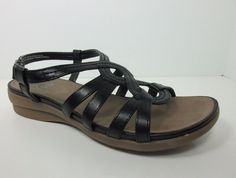 YUU Moria Women Black Strappy Open Toe Wedge Heel Sandals Flat Shoes Size 8.5  M #YUU #Strappy