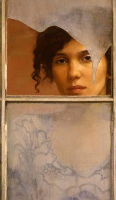 Figurative painter Sharon Sprung (American: 1953) ~ Windowpane