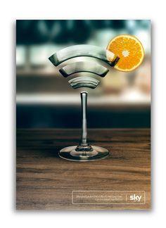 Sky Bar - Wifi Glass on Behance Sky Bar, Creative Illustration, Instagram Story Template, Art Direction, Wifi, Behance, Glass, Design, Projects