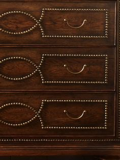 Nailhead details on the Hillandale chest.