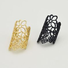 Fashion Costume  Gold Plated Hollow Charm Flower Finger Rings For Women