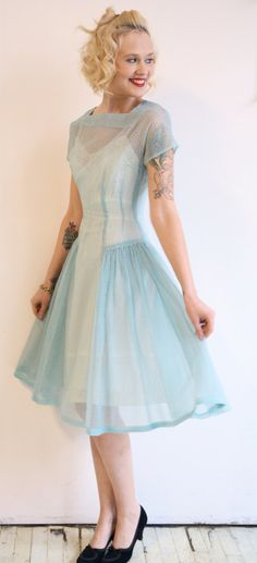 1950s dress // vintage 1950s dress // Swiss Dot by dethrosevintage, $88.00