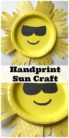 Adorable and Easy Sun Handprint Paper Plate Craft For Kids #artsandcraftsforkidswithpaper,