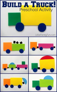 Weekday Wrap-up, Week 1 Build a shape truck, fun for transportation and construction themes in preschool and kindergarten. Compare and contrast in speech therapy too Preschool Crafts, Construction Theme Preschool, Transportation Preschool Activities, Preschool Fun Activities, Construction Crafts, Transportation Unit, Preschool Shapes, Shape Activities For Preschoolers, Pre School Activities
