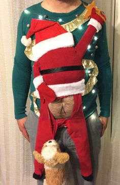 Super Whisper Collection: My ugly Christmas sweater work party is today. Think i'll win? Diy Ugly Christmas Sweater, Ugly Sweater Party, Christmas Shirts, Christmas Humor, Christmas Fun, Christmas Decorations, Xmas Sweaters, Ugly Sweaters Diy, Couples Christmas Sweaters