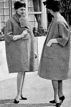 Houndstooth coat by Givenchy  & collarless coat Balenciaga, photo Georges Saad 1959