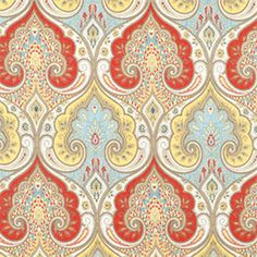 This stunning linen fabric is has an ornate paisley-like design in red, yellow…