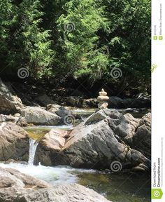 Photo about A summer image of a cool refreshing Vermont river flowing in the mountain forest of Lincoln with a stack of balanced stones. Image of image, vermont, summer - 97413195 Zen Rock, Image Fun, Vermont, River, Stock Photos, Summer, Summer Time, Rivers