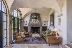 Villa Montana, An Exquisitely Curated 500 acre European Estate - San Francisco Business Times Interior And Exterior, Iron Gates, European Architecture, House Front Door, Wood Beam Ceiling, Marble Bathtub, Villa, Luxury Homes, Architectural Digest