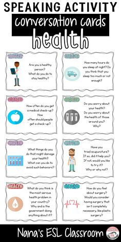 Conversation starters about health English Conversation For Kids, Conversation Cards, Conversation Starters, Learn English Grammar, English Vocabulary, Teaching English, Health Activities, Activities For Kids, Conversational English